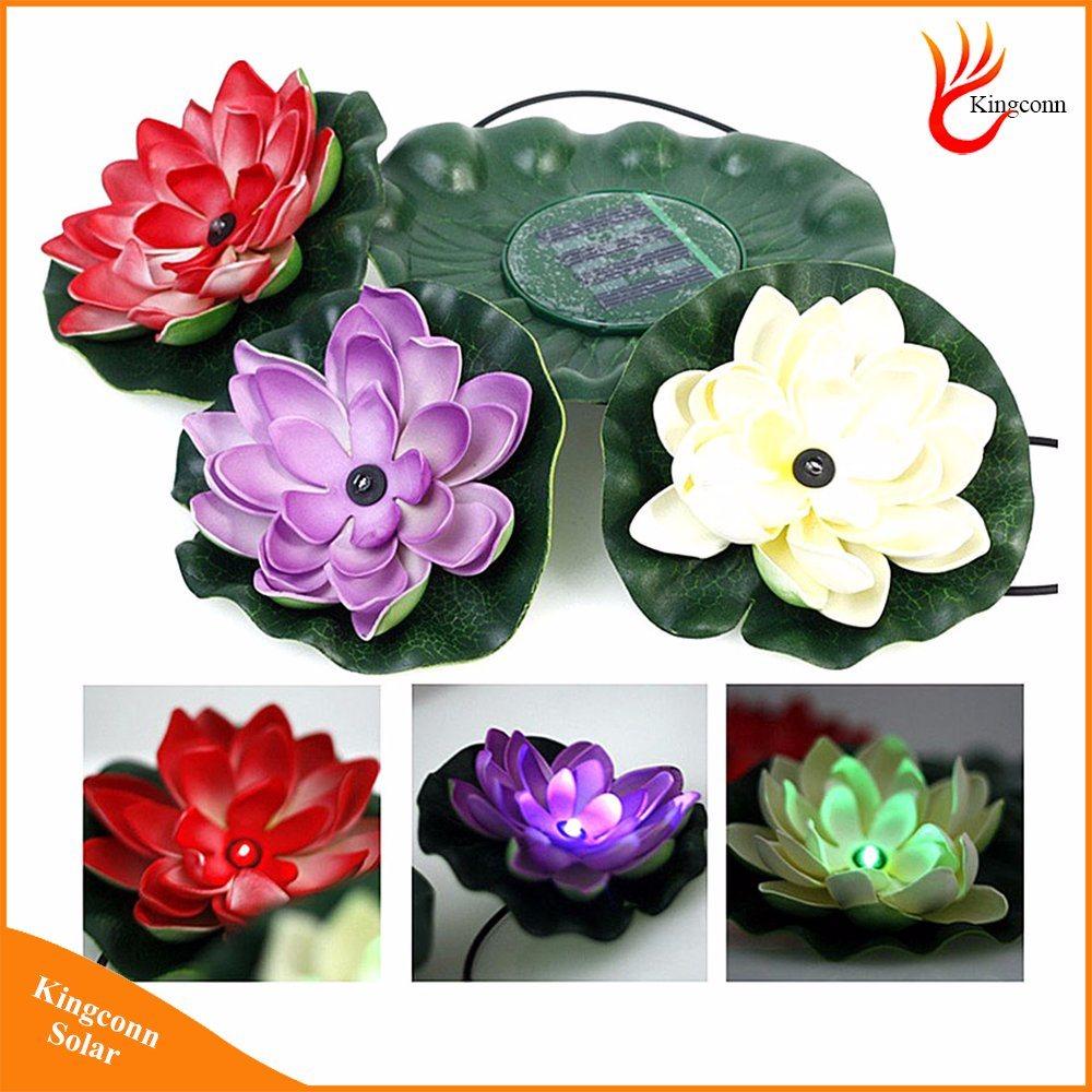 China Garden Pool Floating Lotus Flower Solar Led Night Light Night
