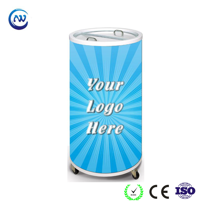 China Can Shape Refrigerator Round Beverage Energy Drink Barrel Cooler Sc 75t Freezer