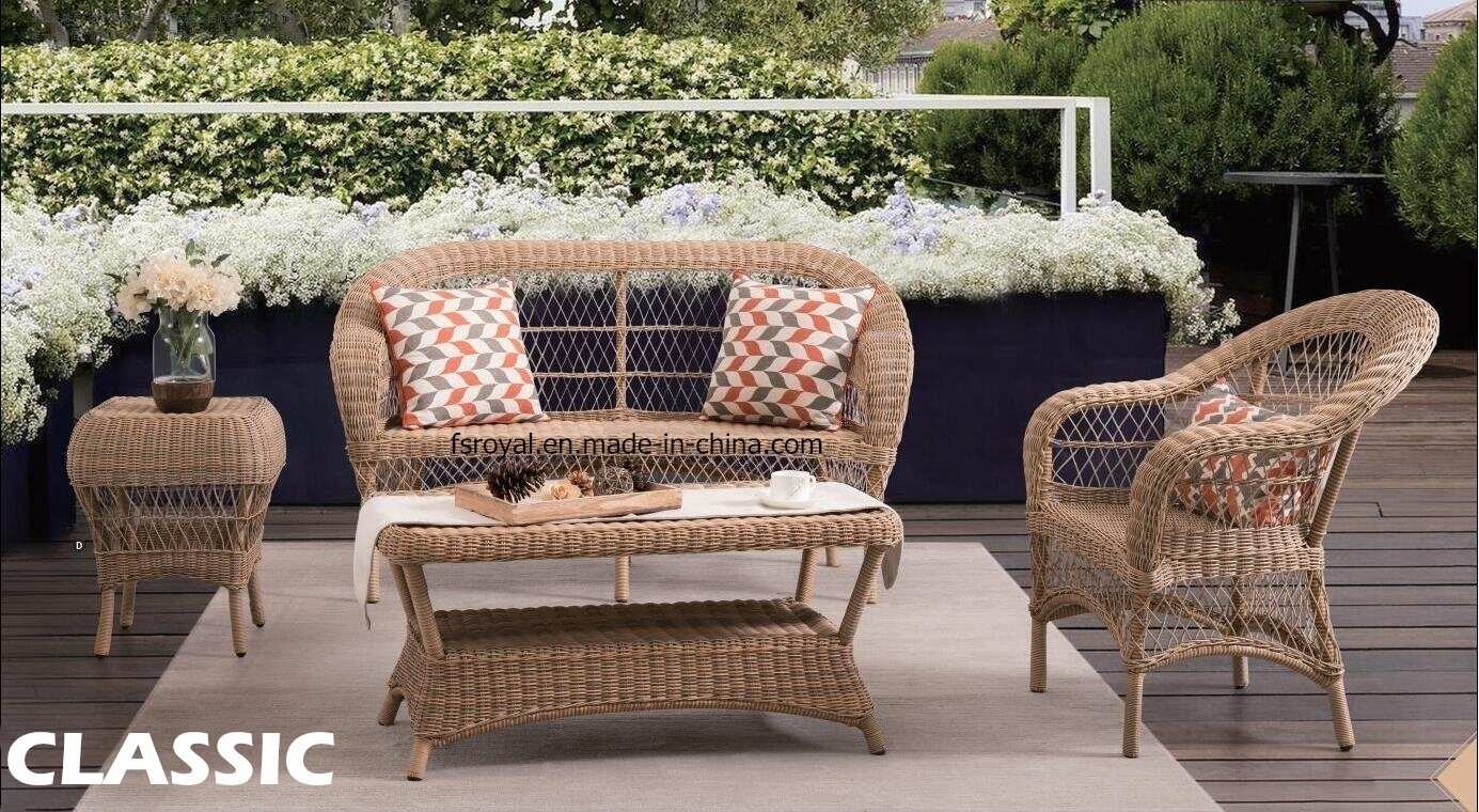 [Hot Item] Chinese Modern Outdoor Sofa Set Patio Garden Home Hotel Living  Room Lounge Sets Round Wicker Rattan Chair Table Leisure Aluminum Furniture