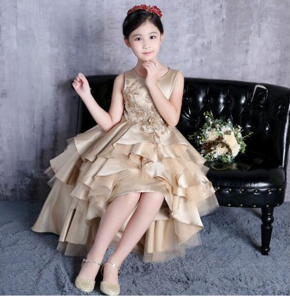f6b8a402ff Light Gold Satin Flower Girl Dress Stage Performance Beading Ball Gown  F131201