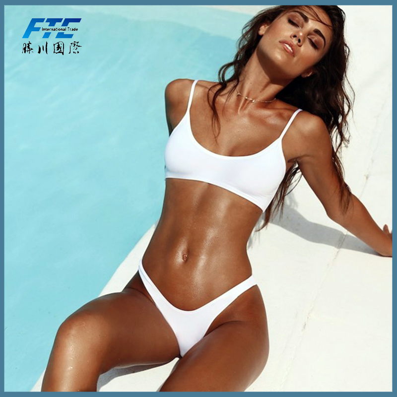 860590e77 China Custom Logo Sexy Two-Piece Bikini Ladies White Swimwear - China Bathing  Suit