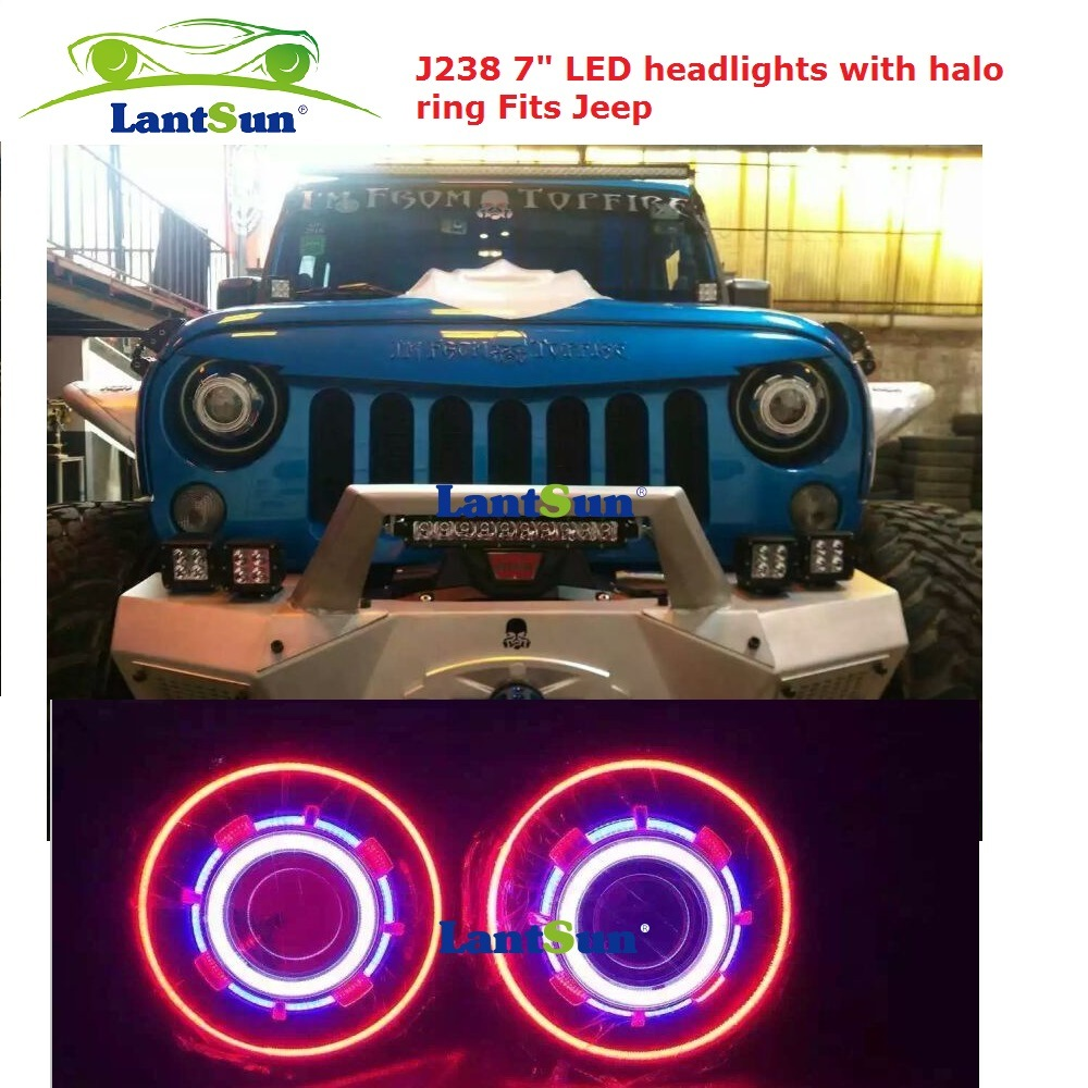 Jeep Halo Headlights >> Hot Item 35w 55w Hid Led 7 Inch Jeep Headlight With Halo Ring