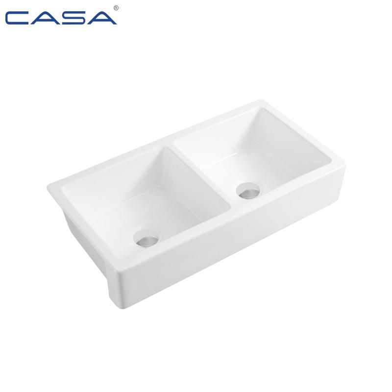 China Double Bowl Porcelain Farmhouse Apron Front Ceramic Kitchen Sink China Sink Kitchen Sink
