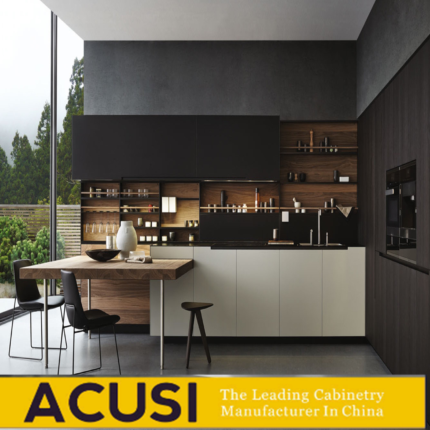 [Hot Item] Wholesale Modern Style Wood Veneer and Color Paint Kitchen  Cabinets (ACS10-L10)