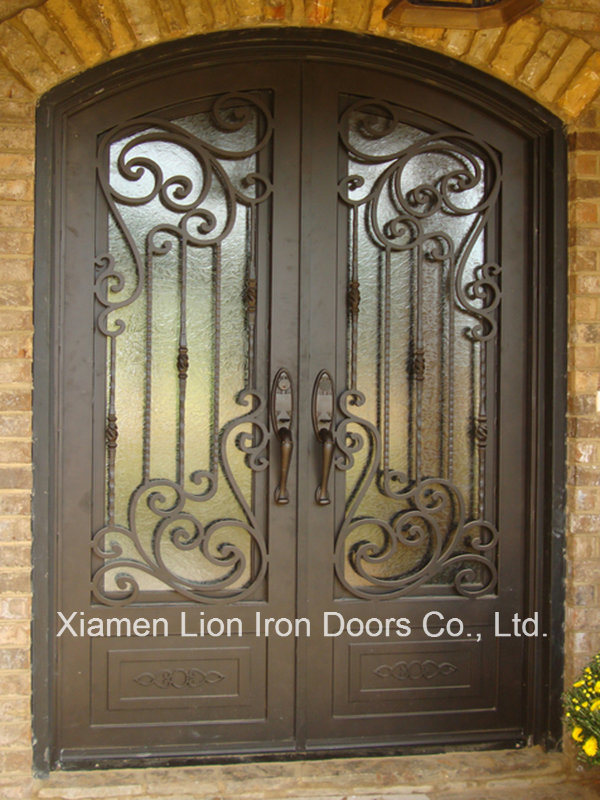 China Top Design Wrought Iron Main Entrance Front Doors Grill Super Quality Metal Anti Rust Steel Security