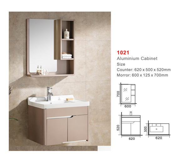 China Aluminium Cabinet Ceramic Basin Gl Mirror Bathroom Set 1021 Counter