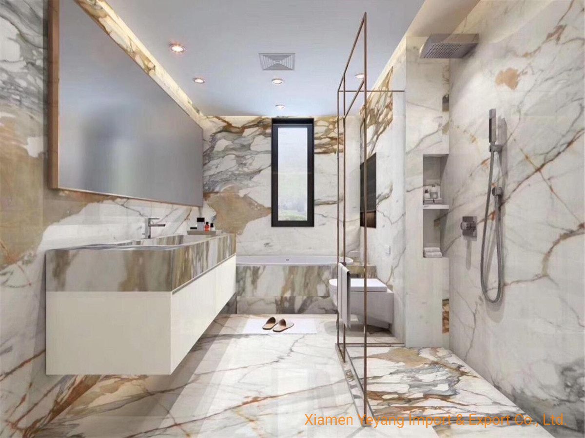 China Home Decoration Luxury Italian Calacatta Gold White Marble For Bathroom Wall Flooring Design China Marble Marble Slab
