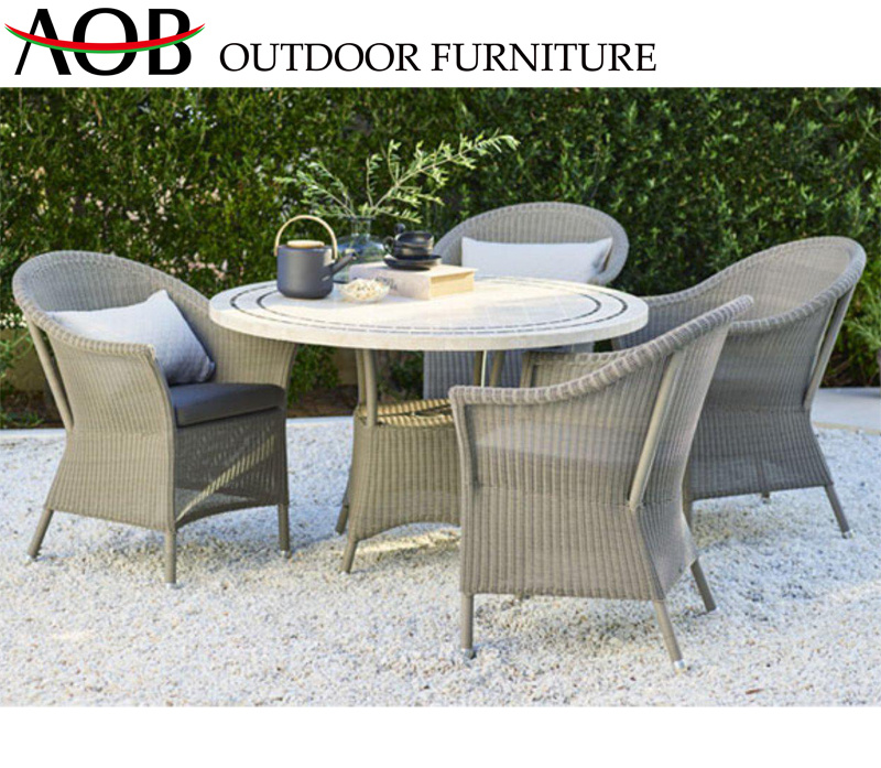 China Outdoor Garden Patio Hotel Furniture White Rattan Wicker Outside Balcony Backyard Round Eating Set Dining Table China Outdoor Furniture Patio Furniture