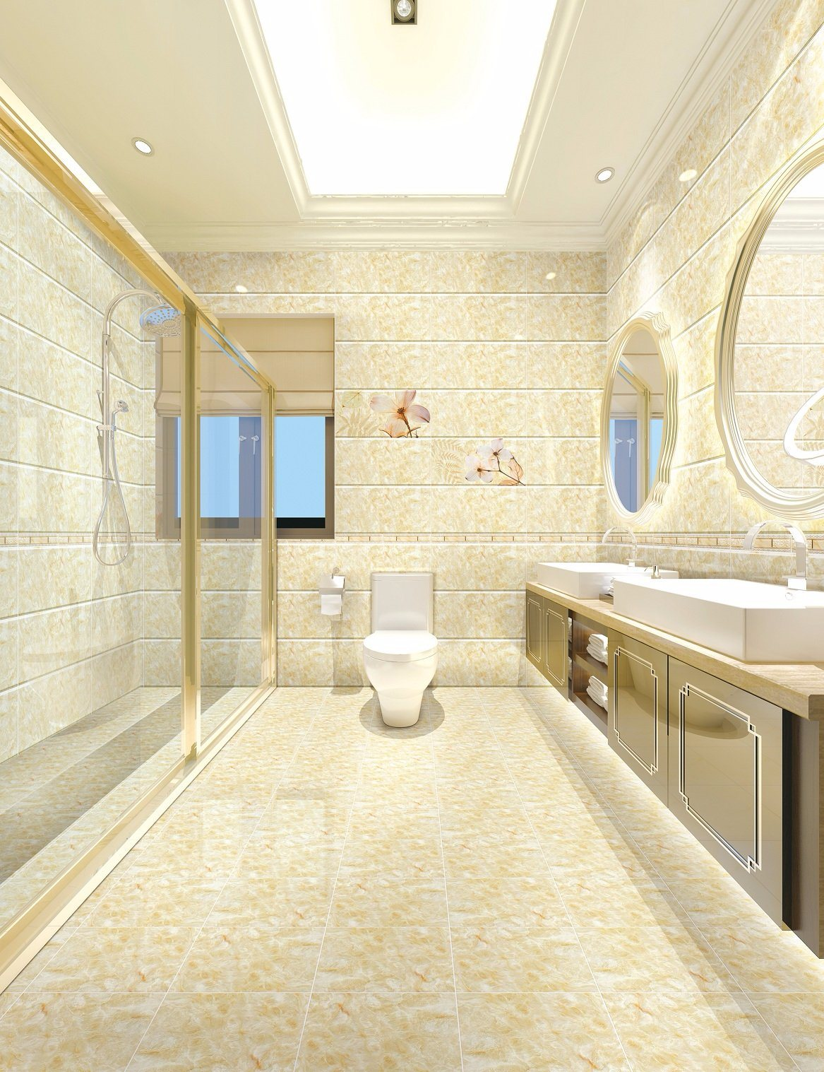China Yellow Marble Ceramic Tile For Interior Bathroom Wall China Wall Tile Ceramic Tile
