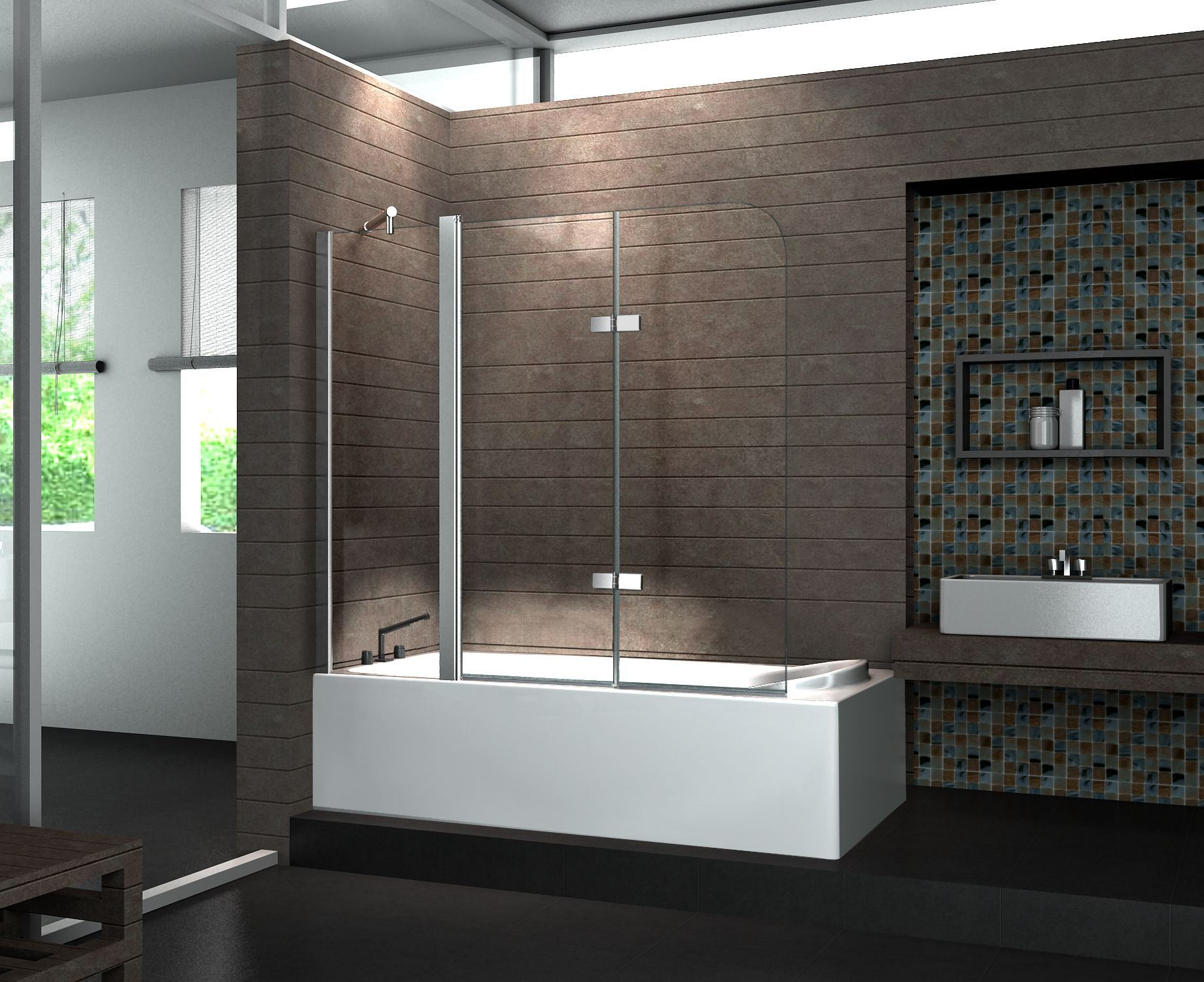 China Low Price Shower Glass Swing Bath Screen for Sale pictures & photos