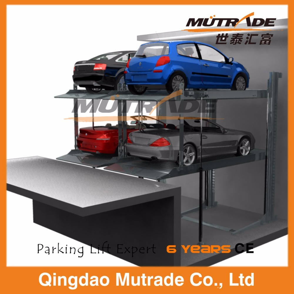 China Two Post Pit Hydraulic Auto Parking System Car Lift Garage For