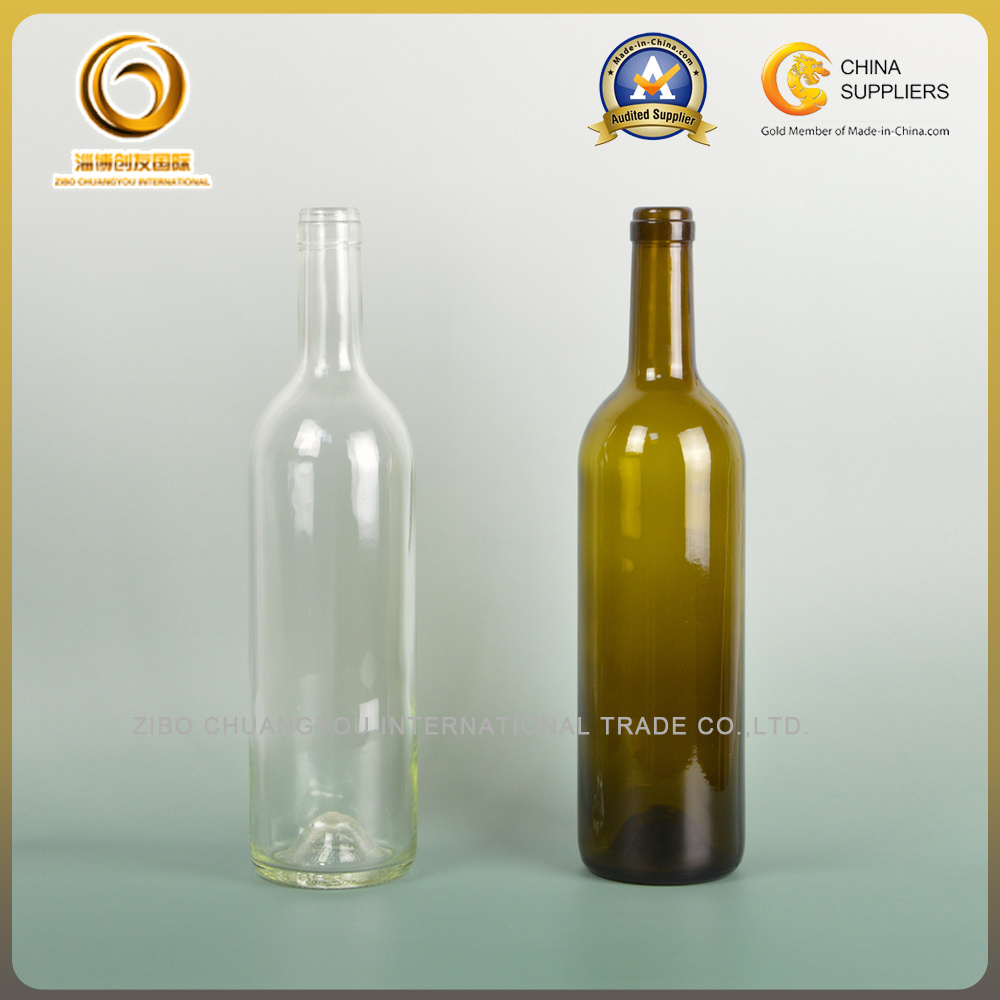 Sample Free 750ml Bordeaux Glass Bottle for Red Wine (038)