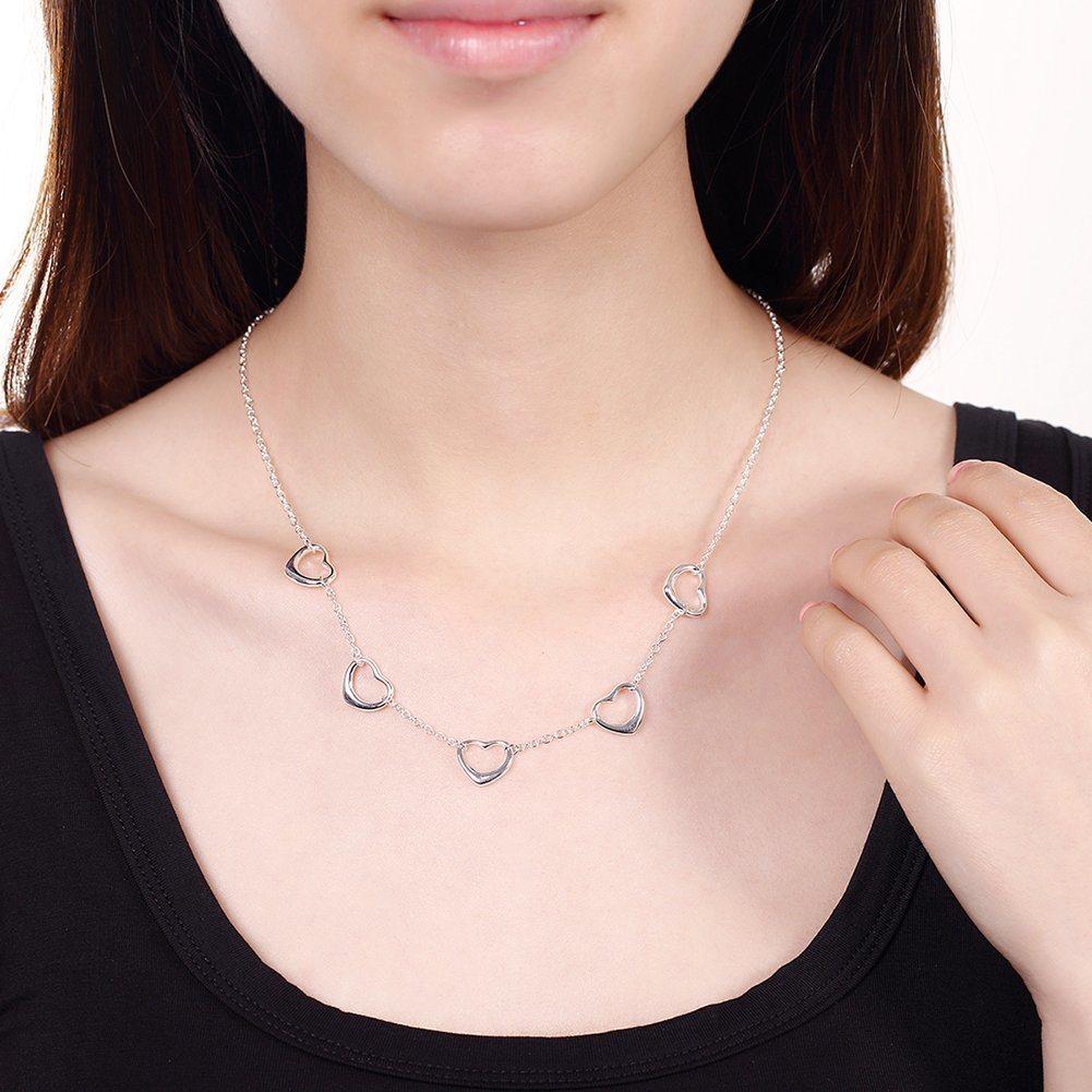 Most Popular Five Heart Shape Pendant Necklace Sterling Silver Necklace  Novel Design Jewelry 75af00b76b64