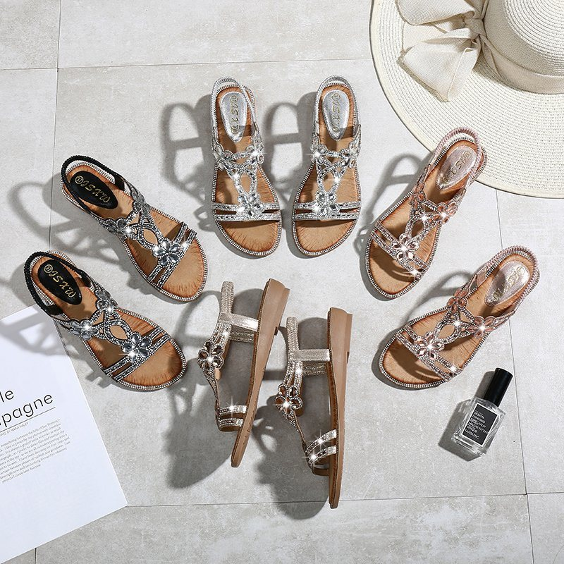 Fashion New Work Rhinestones Flowers Flat Sandals Wedges Cross-Border Large  Size Women's Sandals Wholesale - China Women Shoe and Shoes price |  Made-in-China.com