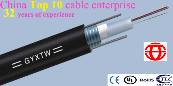 Outdoor 6 Core Central Tube Fiber Optical Cable with Parallel Steel Wire