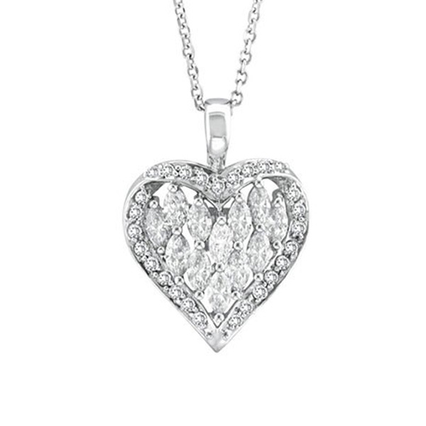 [Hot Item] 18k White Gold Heart Shape Diamond Jewelry 925 Silver