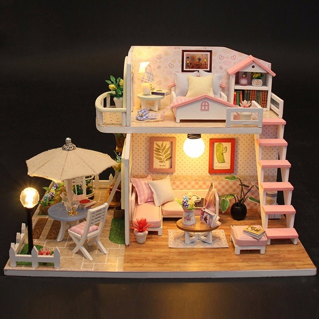 Hot Item Diy Doll House Furniture Miniature Wooden Doll Houses Miniature Dollhouse Balcony Furniture Kit Toys For Children Christmas Gift
