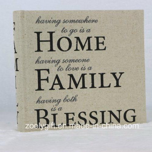 [Hot Item] Slogan Printing Linen Fabric Home Family Photo Album for 4X6