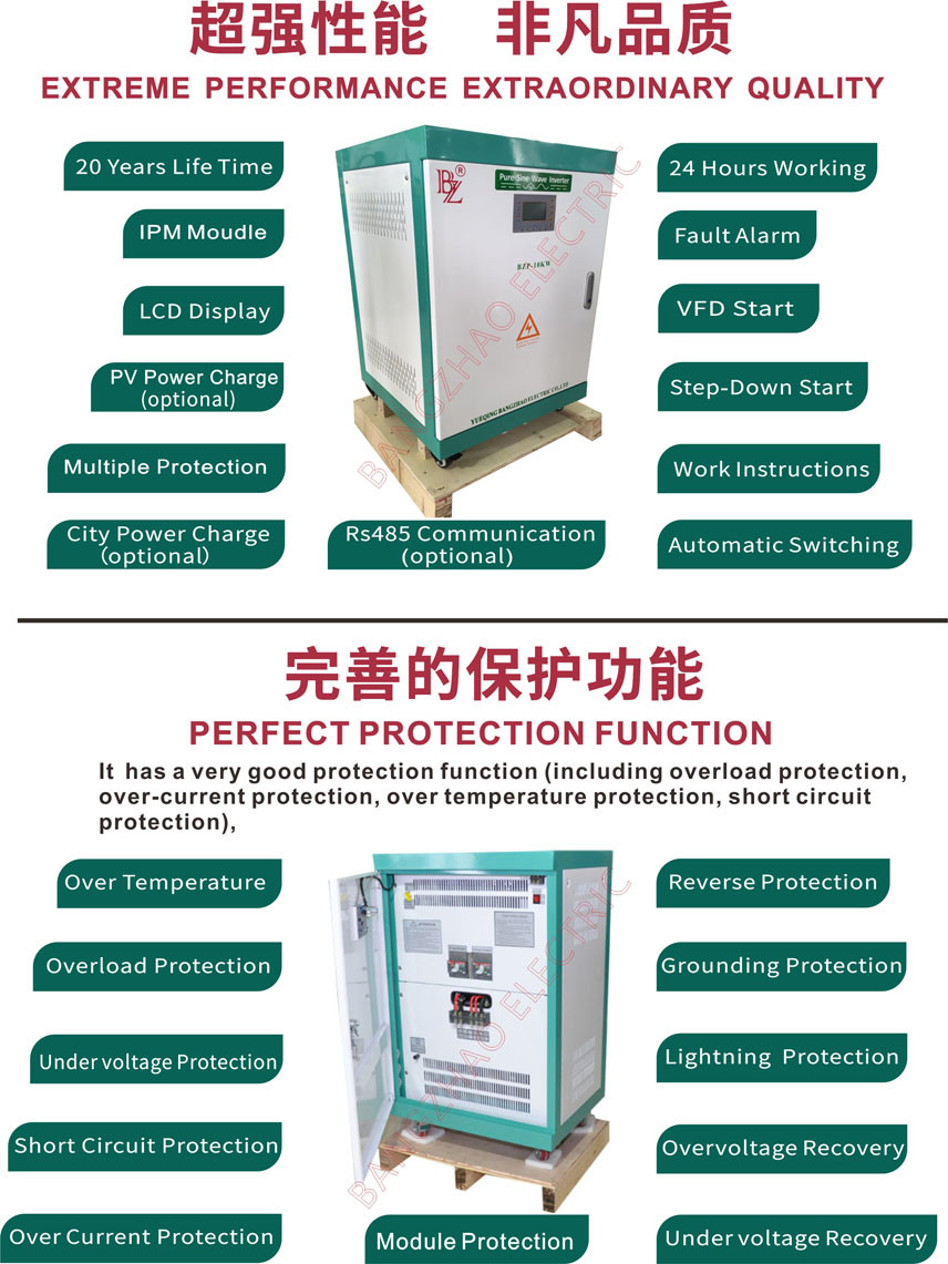 China High Quality Big Power 40kw Hybrid Inverter For No Battery Circuit Backup Solar System