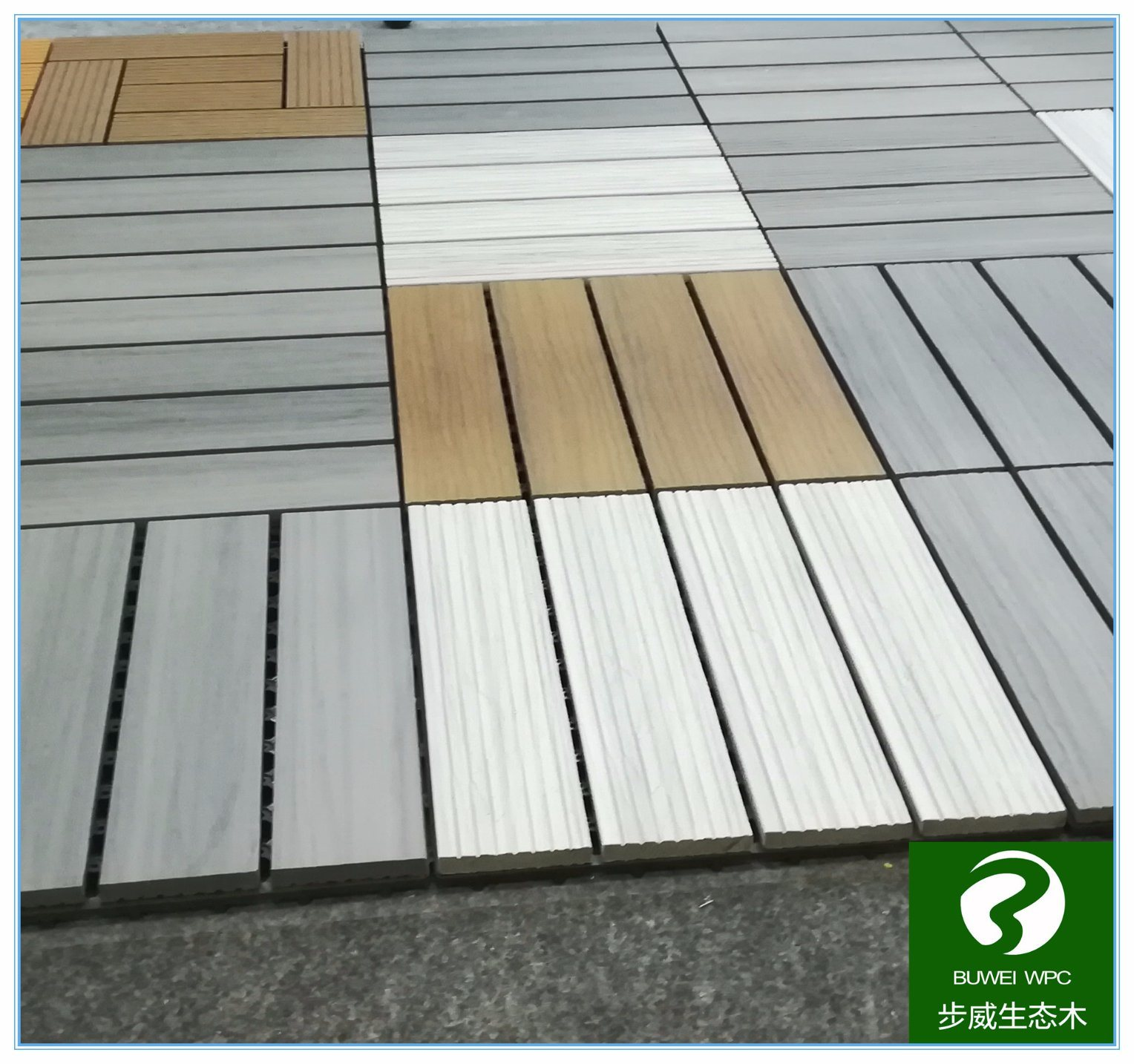 China Outdoor Easy Installation Wood Plastic Composite Floor Tile