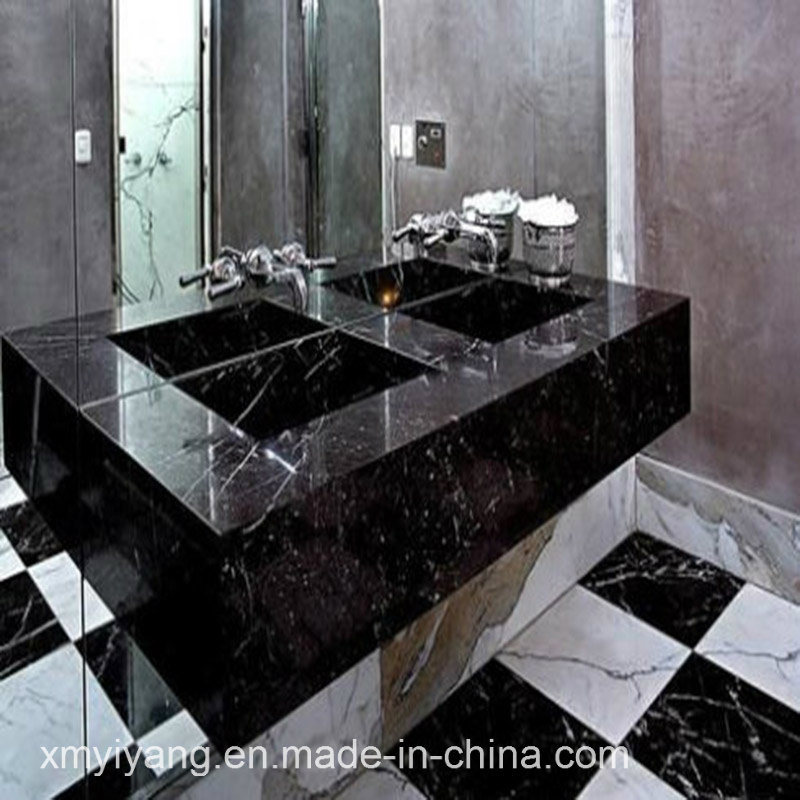 China Nero Marquina Black Marble Tiles For Flooring And Wall