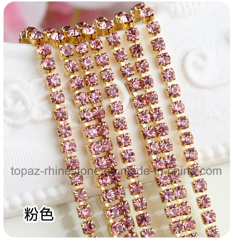 3mm Rhinestone Cup Chain Rhinestone Trimming Cup Chain (TCG-3mm in colors) pictures & photos