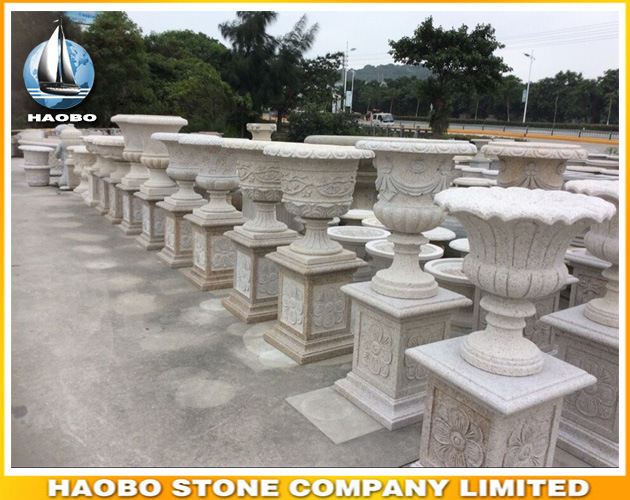 Wholesale Granite Garden Flower Pot with Carvings pictures & photos