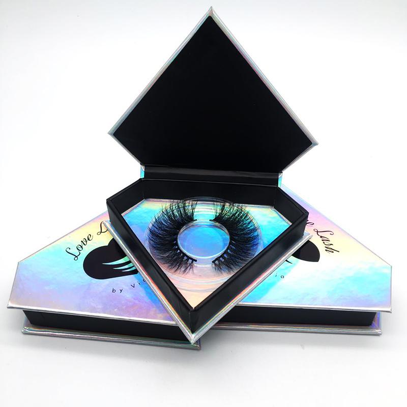 China Holographic Diamond Eyelashes Box with Your Own Logo