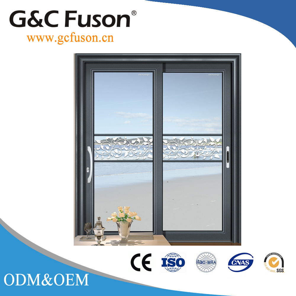 China Powder Coating Aluminum Office Double Glazed Sliding Door