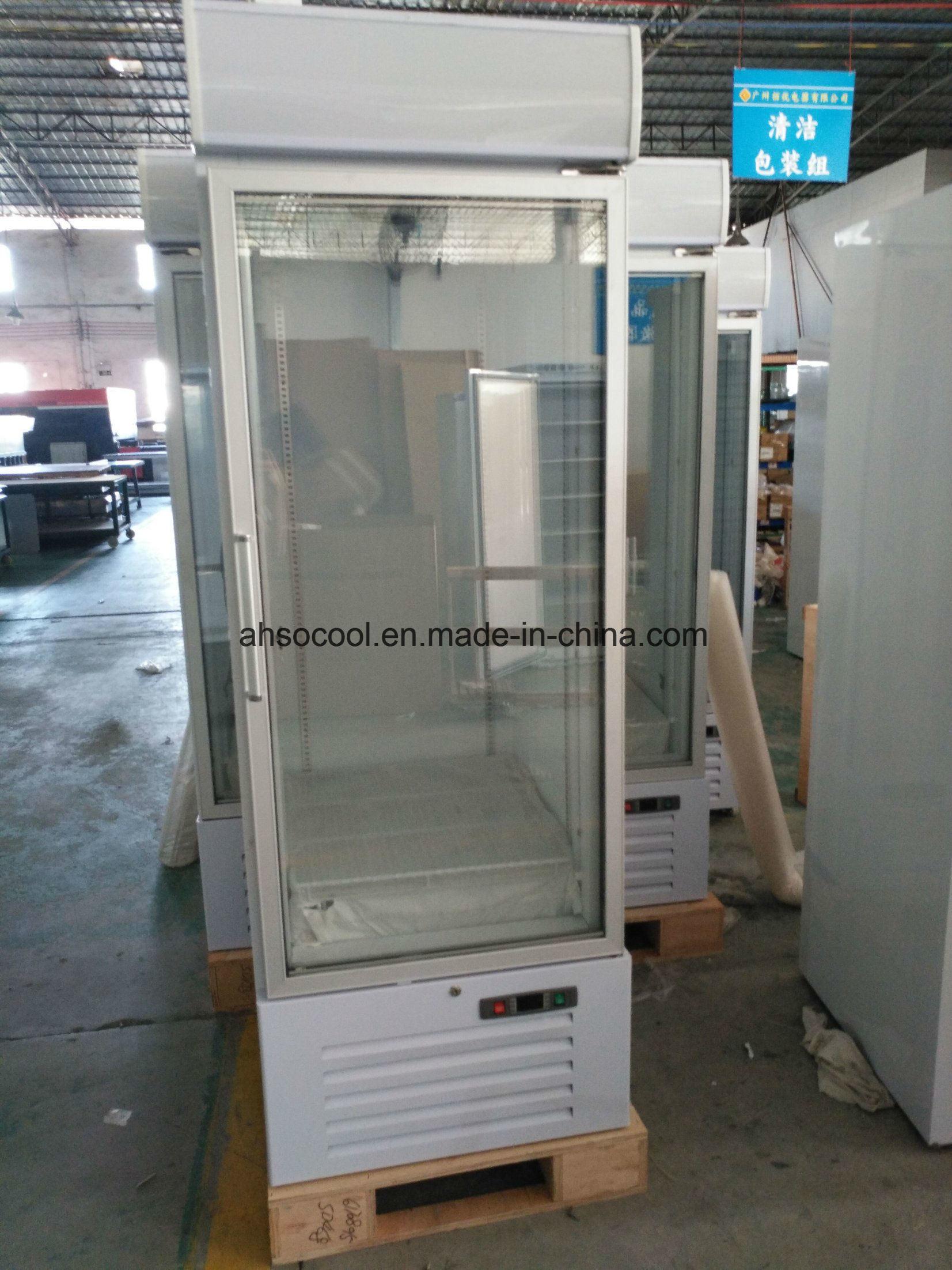 China Single Glass Door Upright Display Freezer For Supermarket