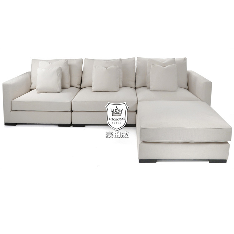 Off White Sectional Sofa With Ottoman