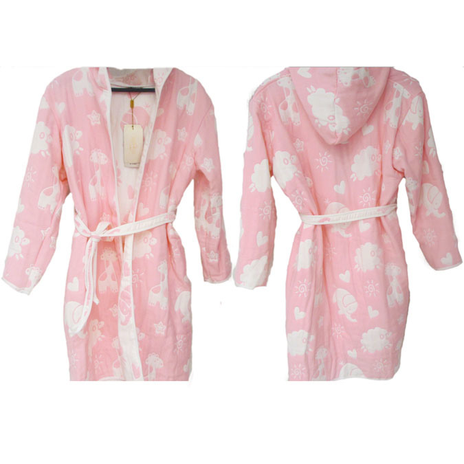 Jacquard Cotton Bathrobe with Hooded for Adults/Kids pictures & photos