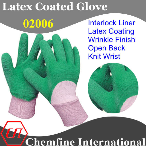 White Interlock Glove with Green Latex Wrinkle Half Coating & Open Back & Knit Wrist