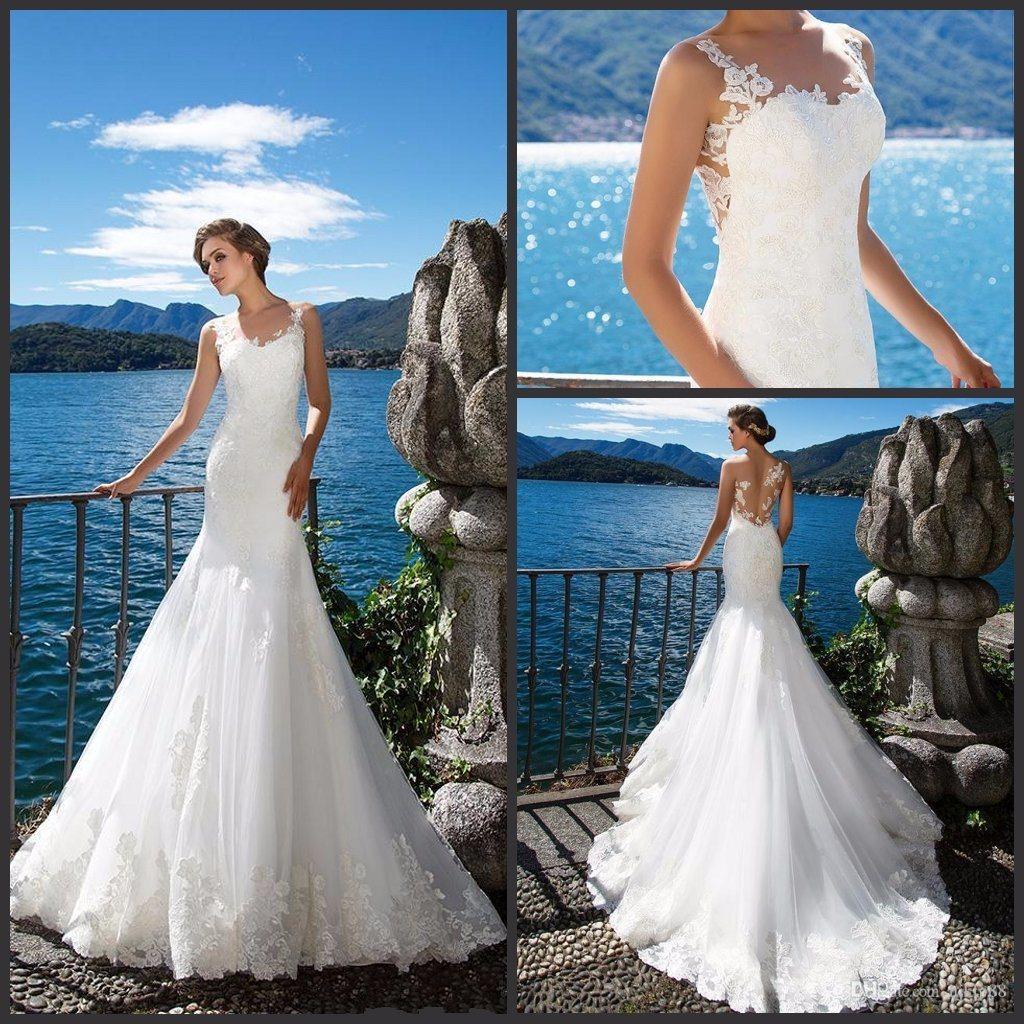 China Sleeveless Bridal Gown Lace Mermaid Tulle Beach Wedding Dress ...