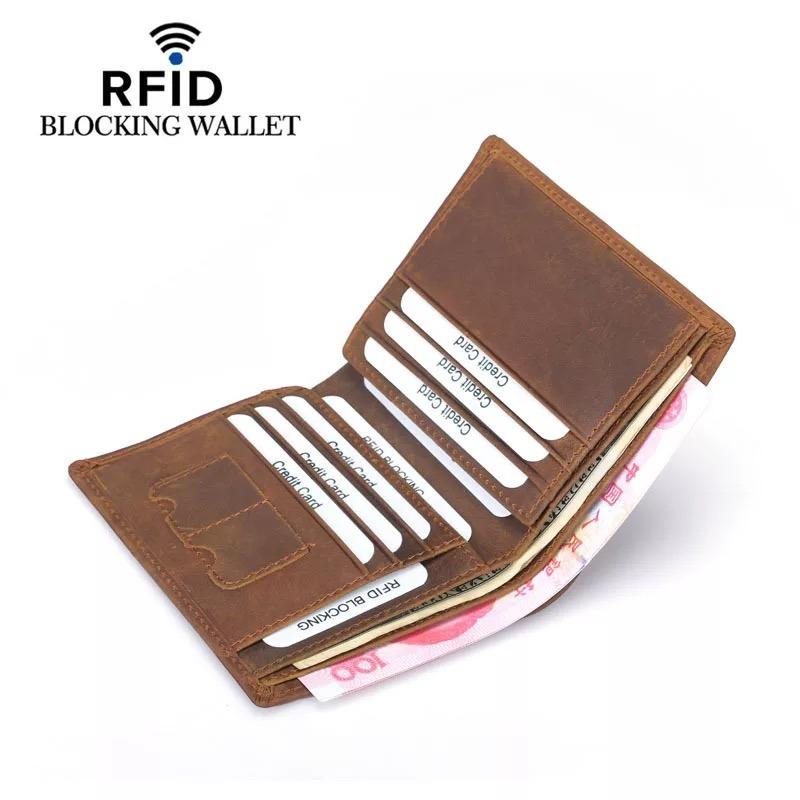 828fc4b388af [Hot Item] Vintage Crazy Horse Leather Mens Wallet Anti RFID Wallet