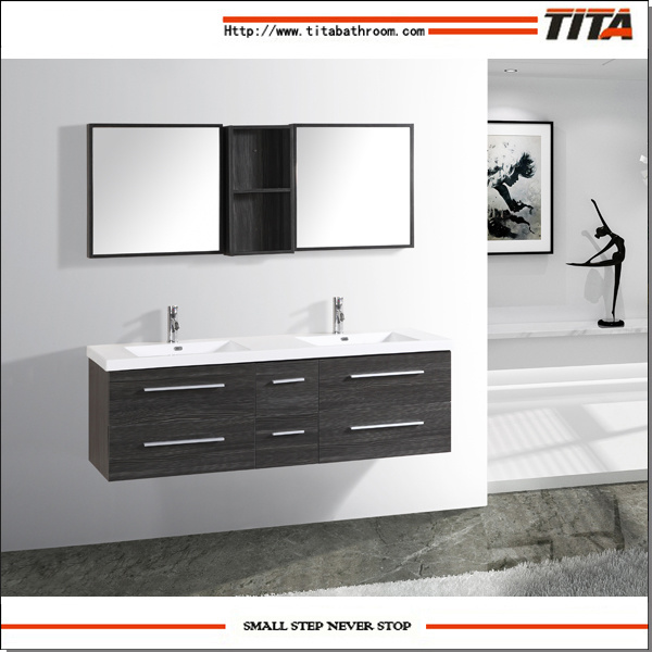 China Teak Bathroom Furniture Double Sink Vanity Unit Light Oak Cabinets Th21301