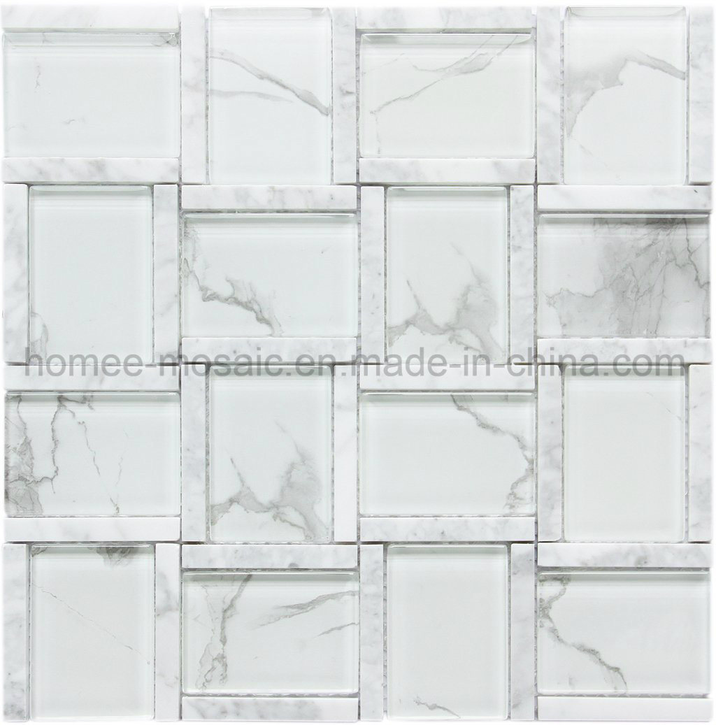 1 Sheet 30cmX30cm White Glass /& Stone Mosaic Tiles Sheet for Walls Floors Bathroom Kitchen