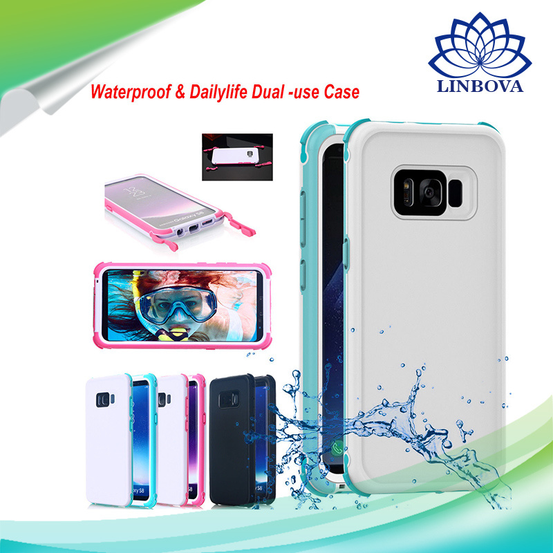 best website 5f441 e11a4 [Hot Item] Waterproof Mobile Phone Cases TPU+PC Dustproof Phone Cover for  Samsung S8 S8 Plus iPhone 8 /7s /6s Plus
