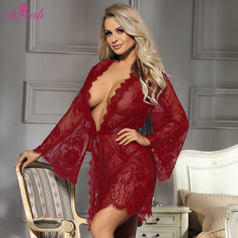 China Private Label Mesh Lace Eyelash Sexy Transparent Robe Lingerie For Woman China Sexy Lingerie And Lingerie Price