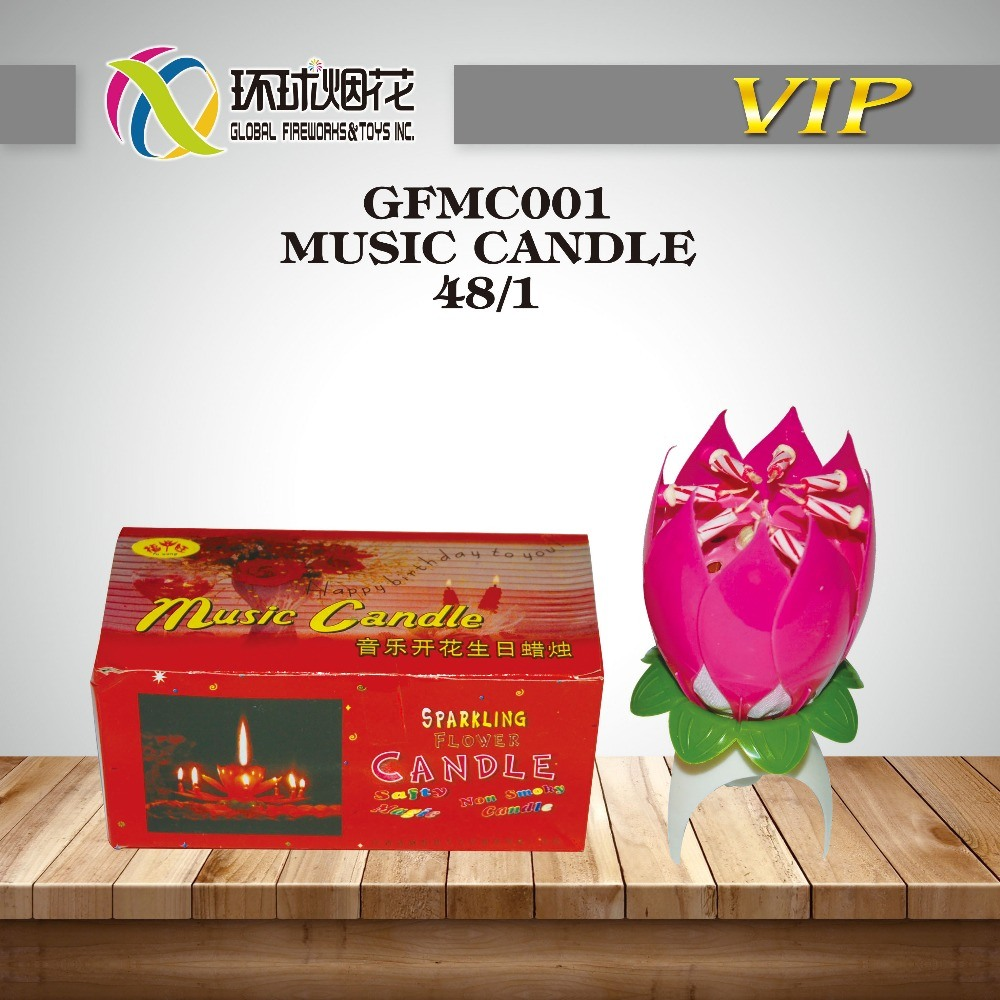 China Happy Birthday Lotus Flower Musical Candle Fireworks China