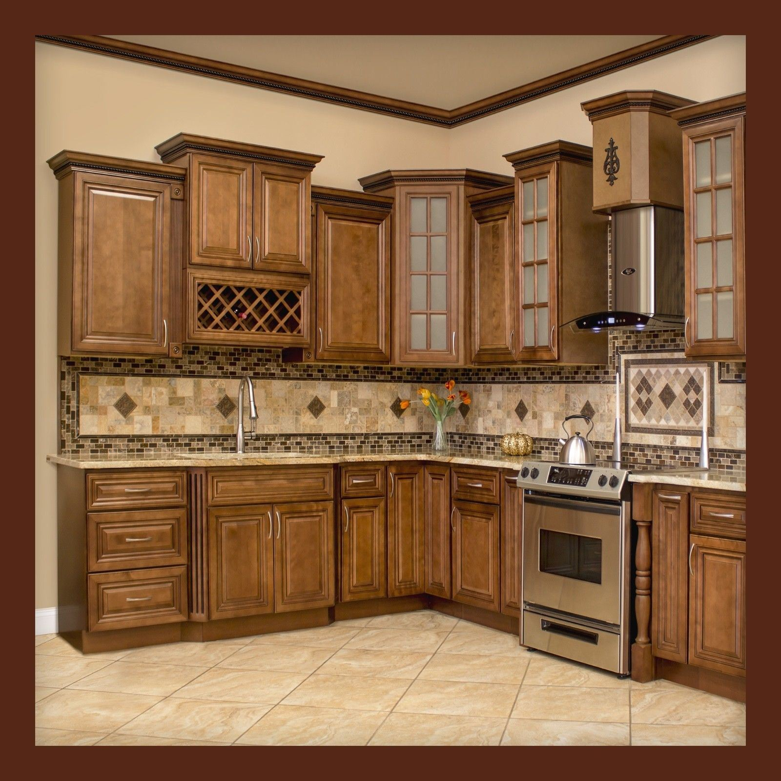 China American Solid Wood Kitchen Cabinet, Customized ...