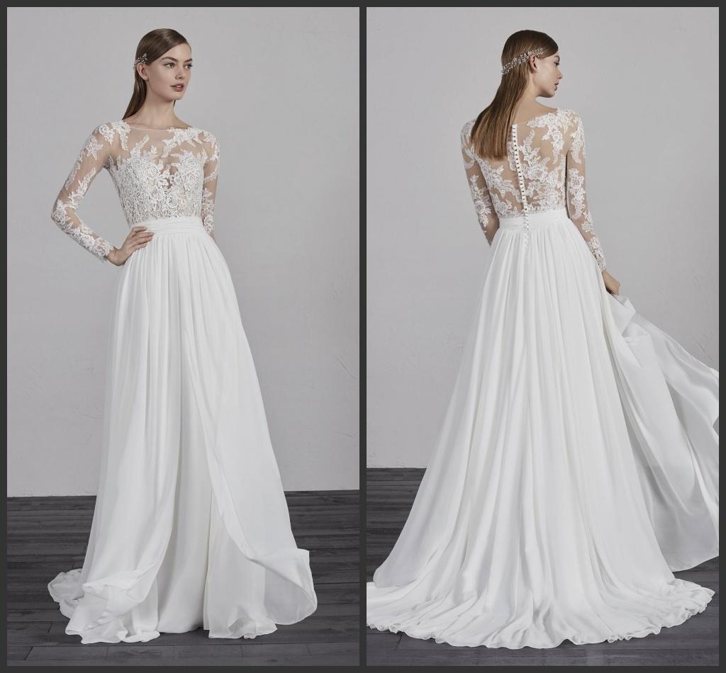 China Sheer Bodice Bridal Dress Lace Sleeves Chiffon Beach