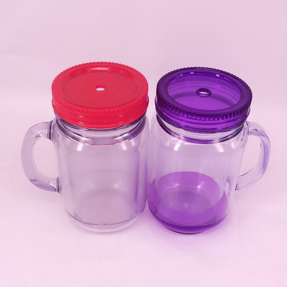 Plastic Double Wall Mason Jar with Straw and Handle