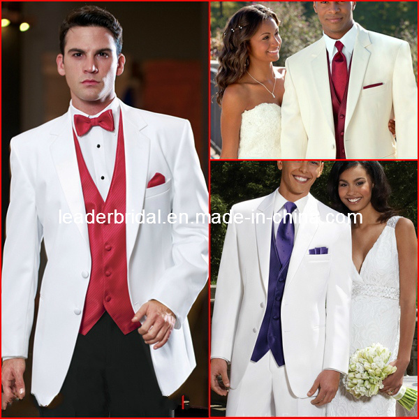 China White Groom Men Suits Red Blue Purple Formal Wedding Tuxedo ...