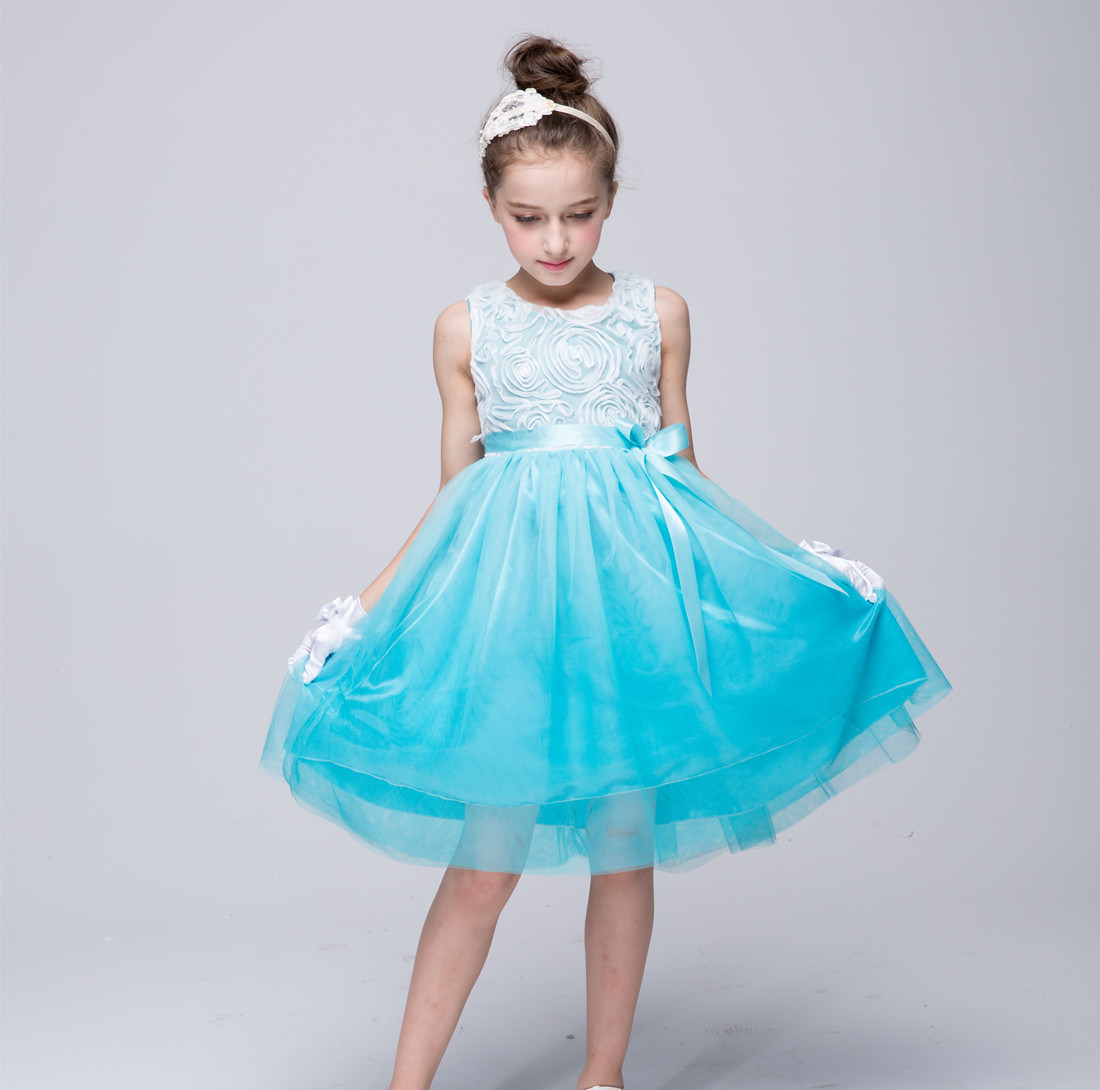 China Kids Girls Flowers Voile Tulle Gradient Color Belted Formal ...
