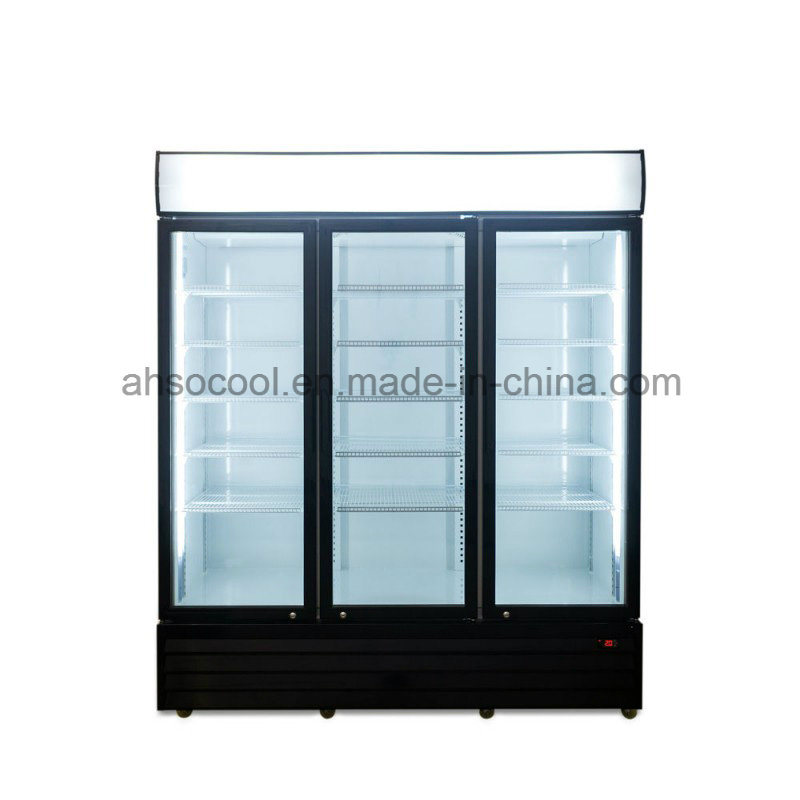 China 3 Glass Door Beverage Commercial Refrigerators With Embraco