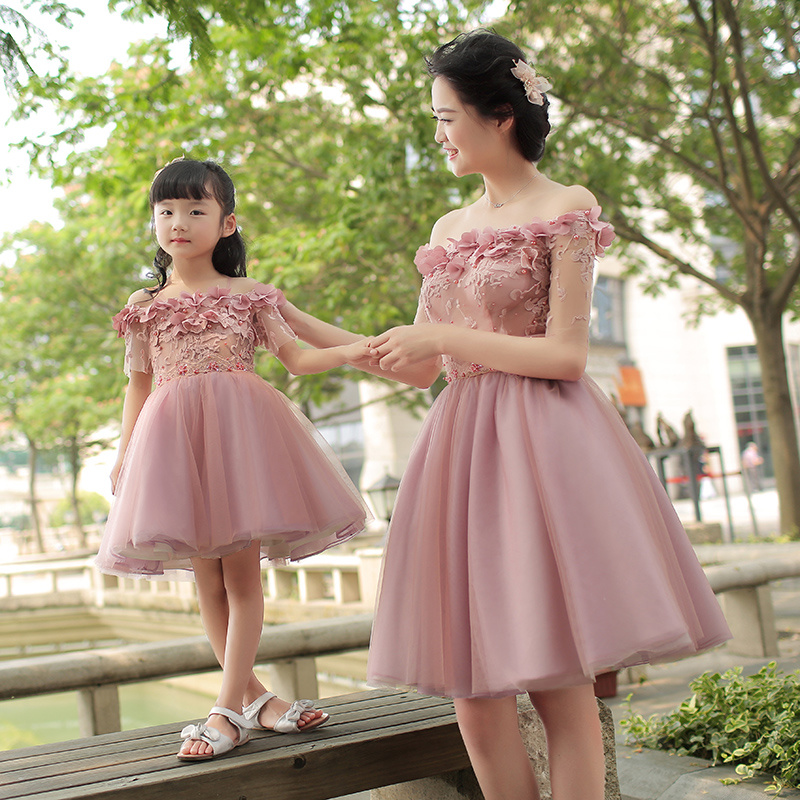 China Pink Girls Mother Daughter Formal Gown Tulle Flower Girl