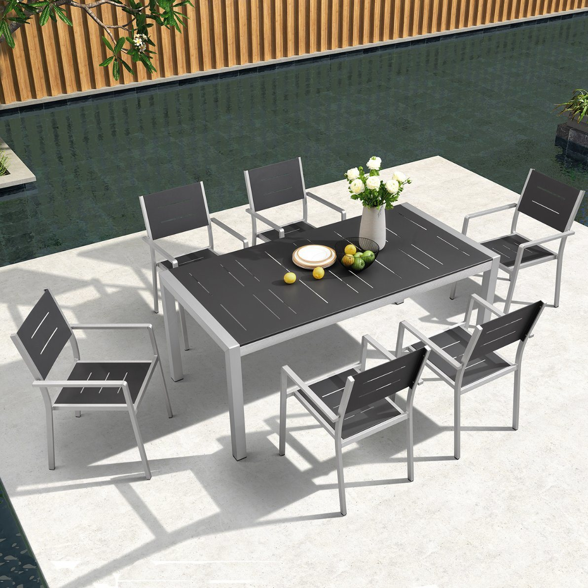 [Hot Item] Yard Dining Set Aluminum Patio Chair Outdoor Seating Dining Table