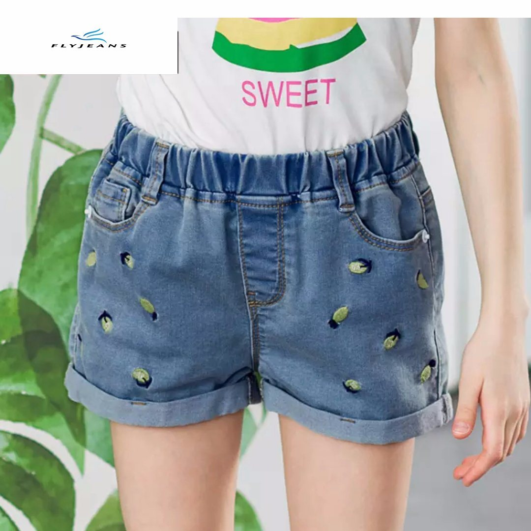 large discount new arrive cheaper China Summer Fashion Elastic Denim Shorts with Embroidery for ...
