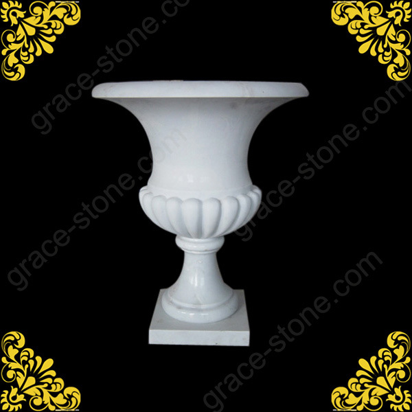 Marble Hand Carved Flower Pot for Garden Decoration
